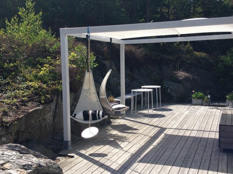 pergola diseno moderno jardin terraza sillas colgantes ideas
