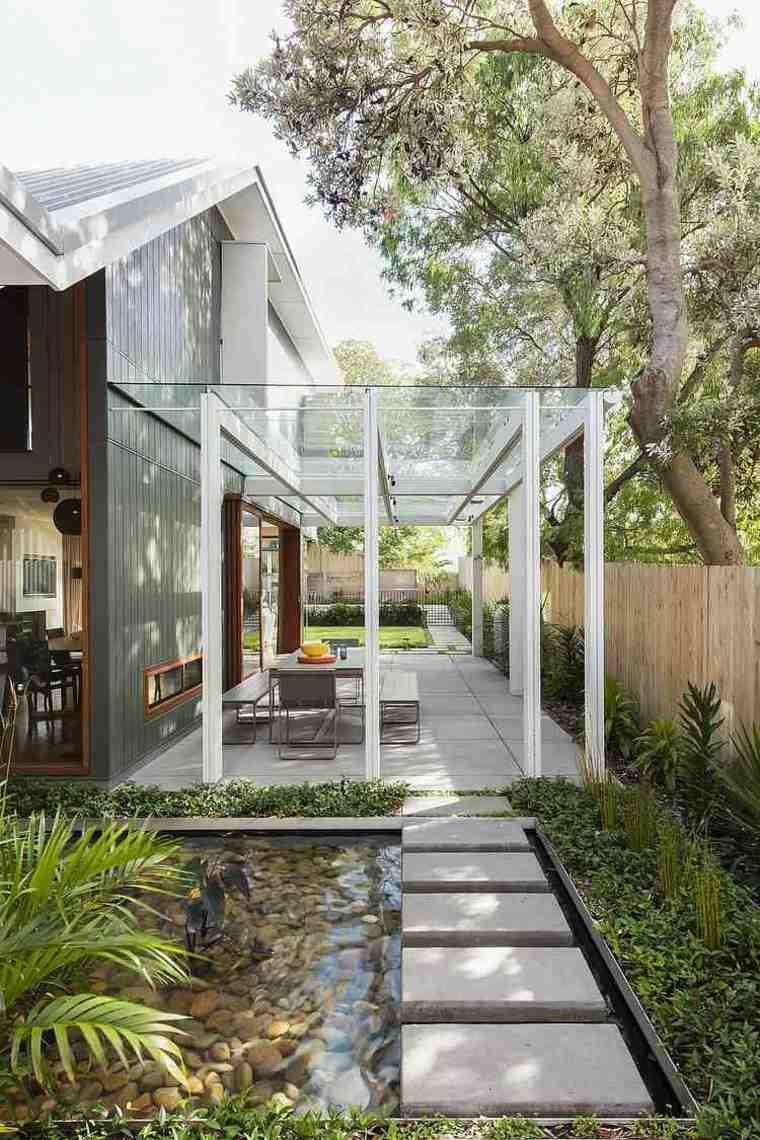 pergola diseno moderno jardin terraza techo acristalado ideas