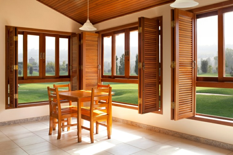 persianas madera salon comedor moderno - Persianas De Madera