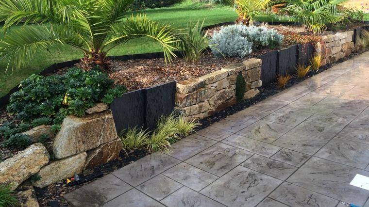 piedra volcánica para jardín valla