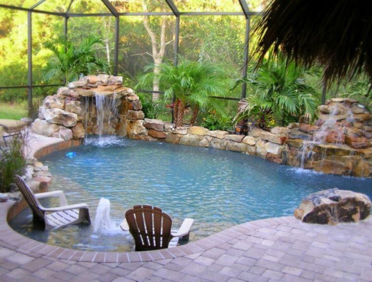 piedras decorativas piscina estilo tropical