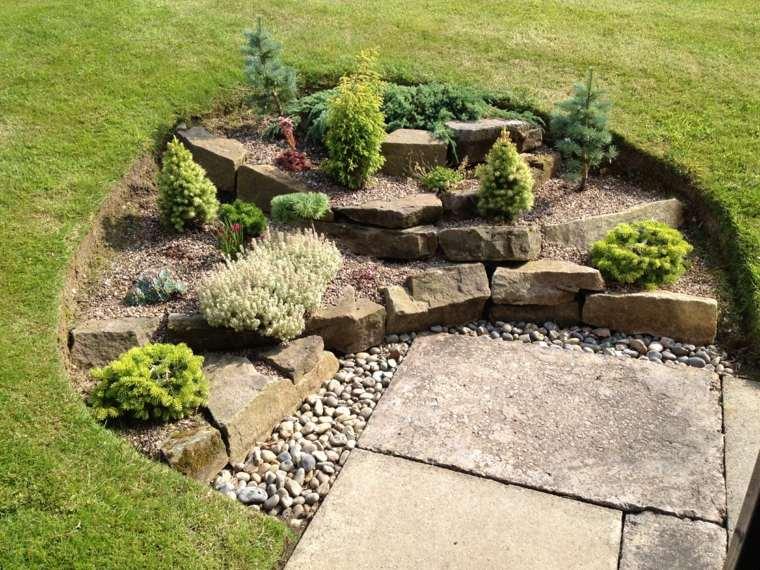 piedras jardín círculo tierra