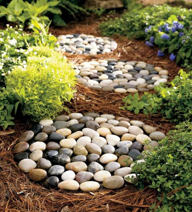 piedras río para jardín círculos