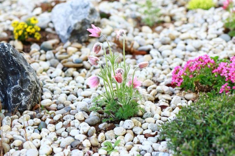 piedras río para jardín flores