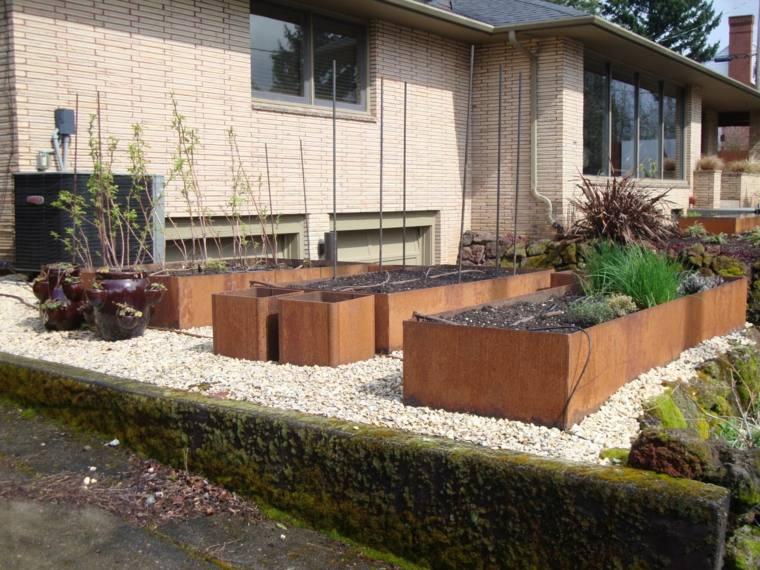 plantadores jardin acero rojo