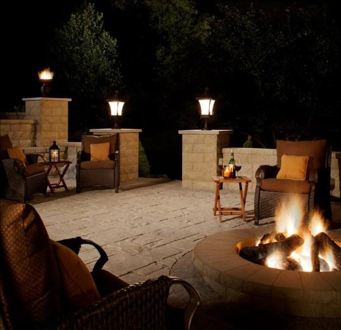 pozo fuego sillones materiales leña