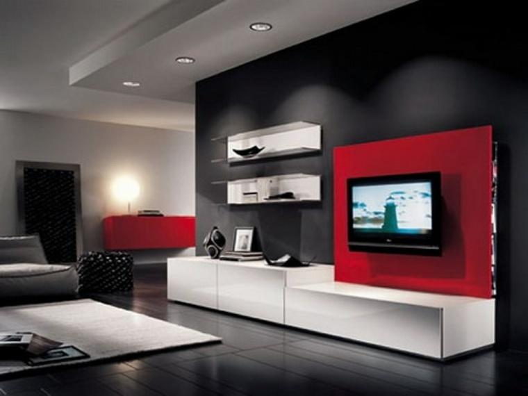 decoración paredes interiores rojo negro