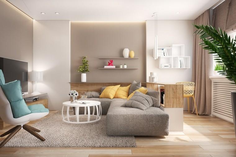 refrescante naturales espacios madera grises