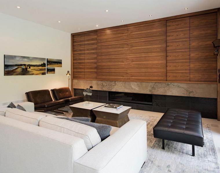 salon interior diseno moderno paneles madera