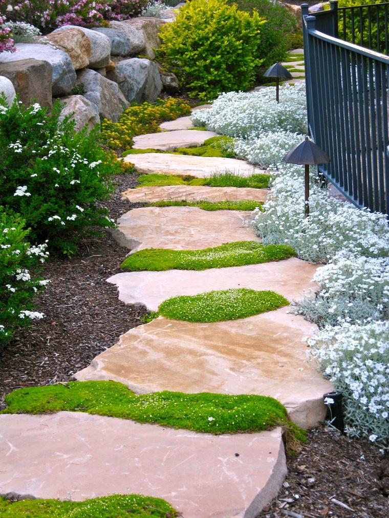 senderos camino disenos jardin piedras formas irregular ideas