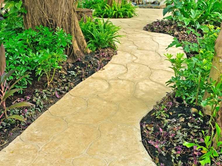 senderos camino disenos jardin piedras amarillas ideas