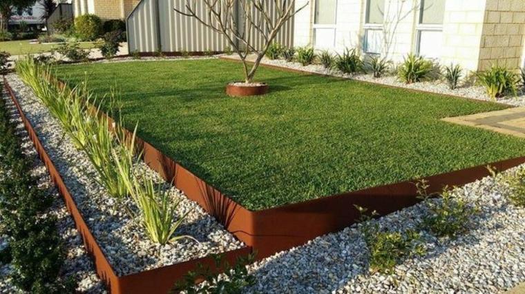 separador camas jardin acero oxidado