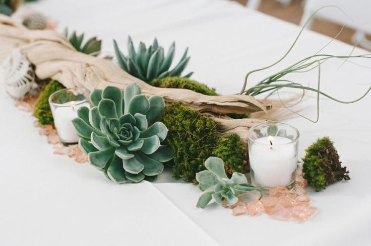 suculentas ideas madera vieja moderna decoracion mesa cena romantica