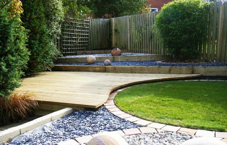 suelo madera frontera losas terrazas separa espacios ideas