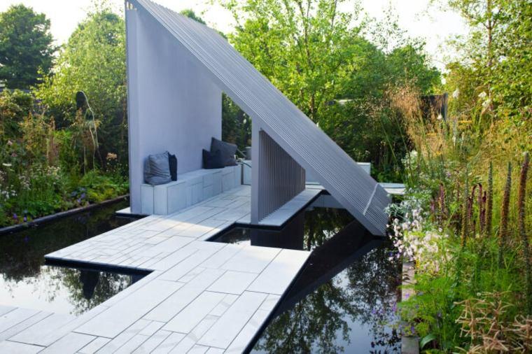suelos senderos camino disenos jardin estanque agua grande ideas