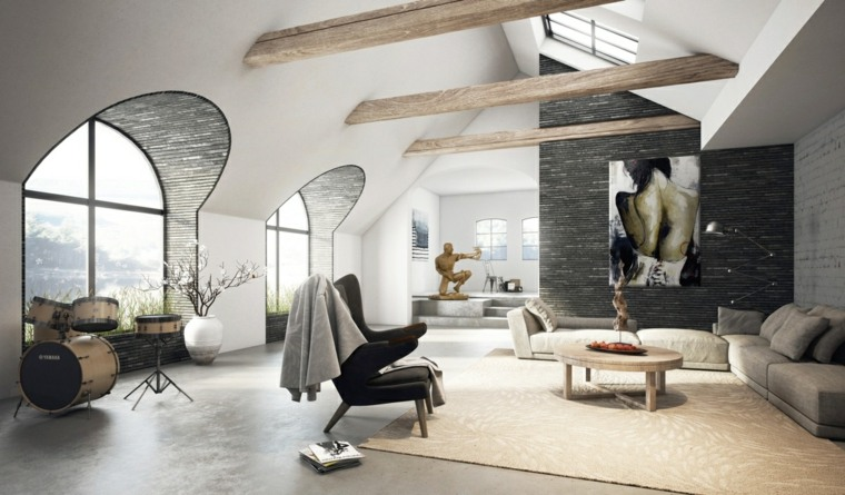 techo alto diseño fuentes cuadros