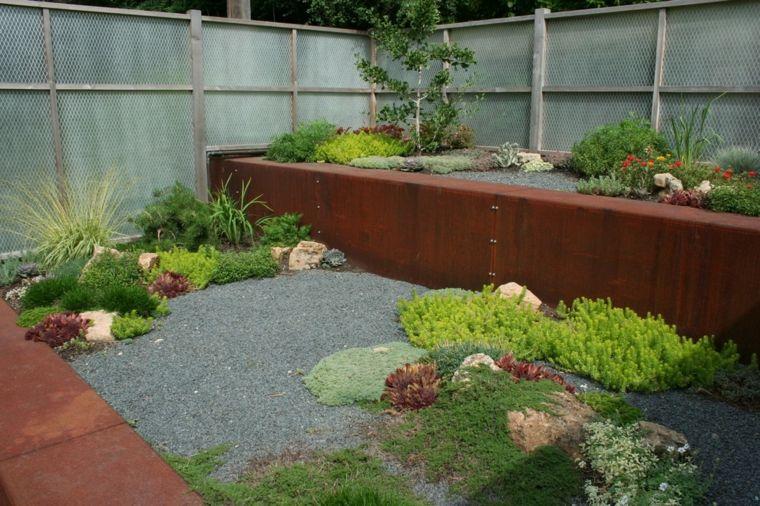 terraza jardin estilo zen paredes corten