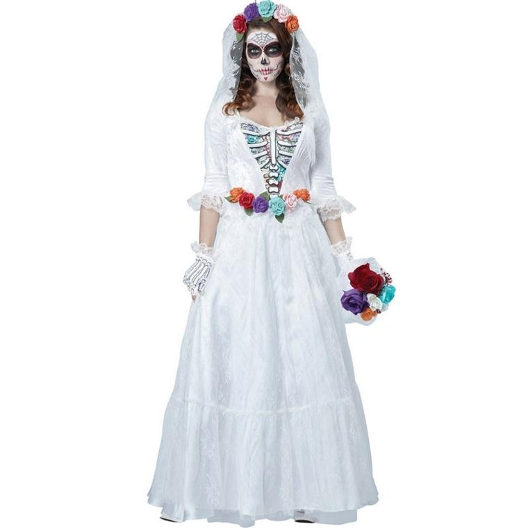 traje blanco catrina calavera