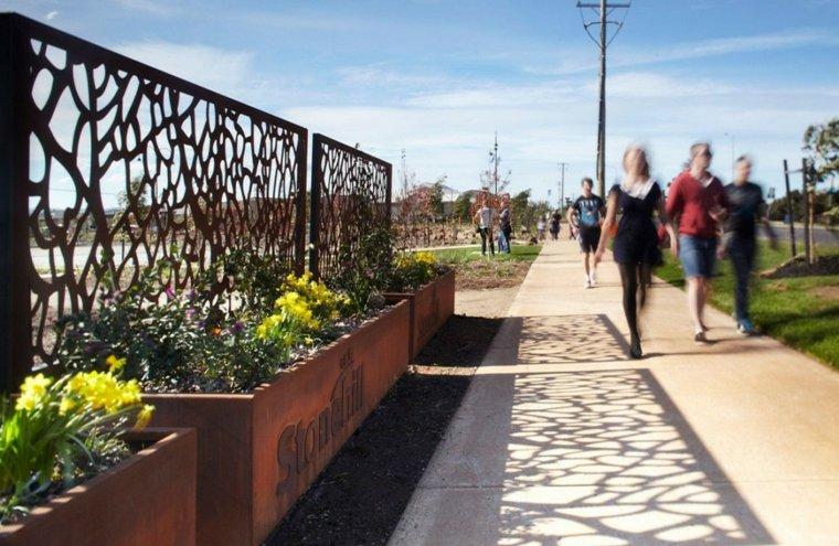 vallas jardin plantadores diseño acero
