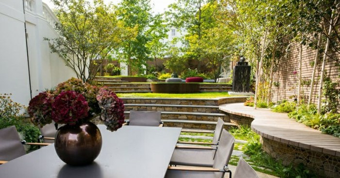 variaciones patios elegantes comedor dorados