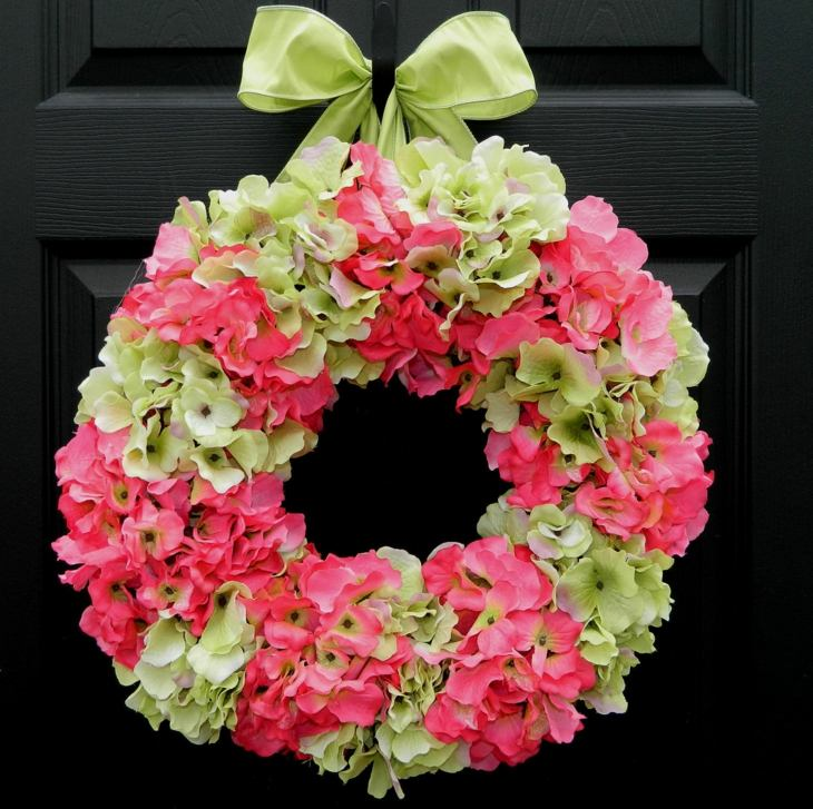 verano corona hortensias flores lazo