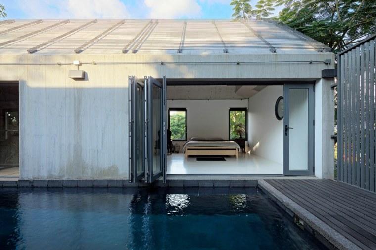 vista jardin moderno piscina minimalista