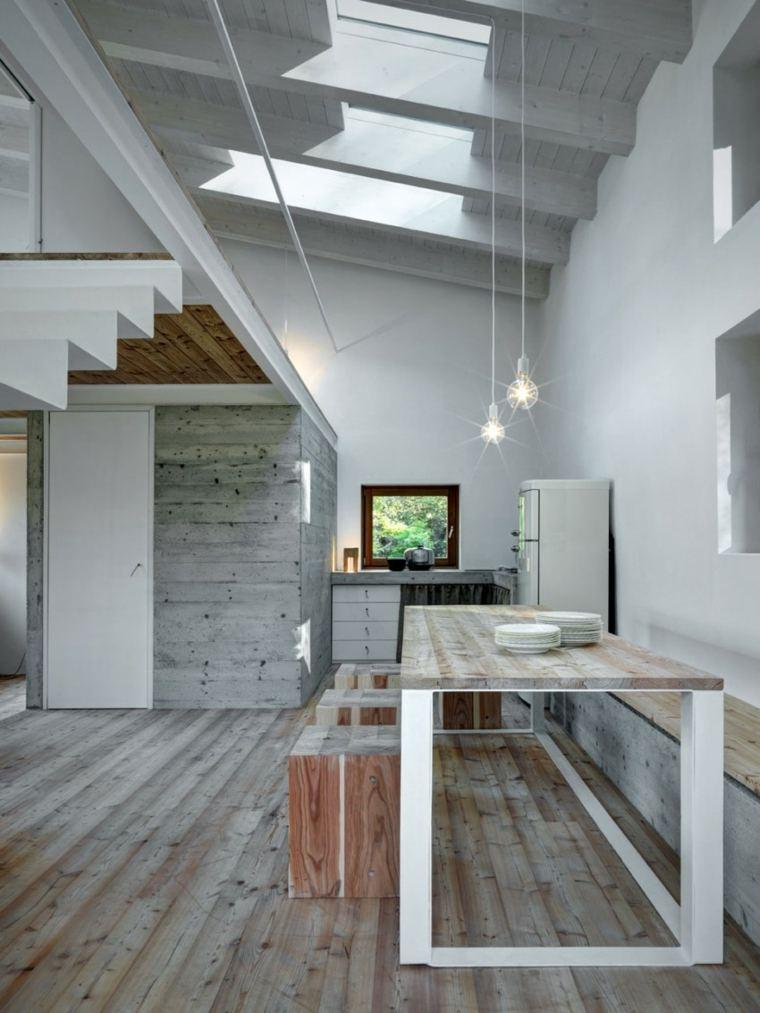 mesa pared madera cocina diseno moderno comedor ideas