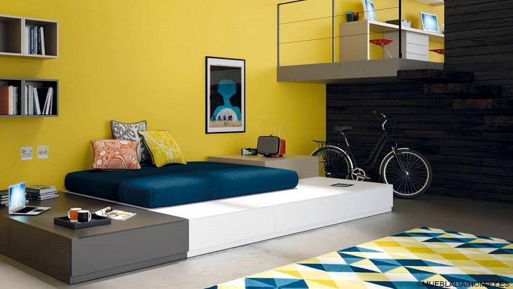 MUEBLALIA habitacion amarilla moderna paredes