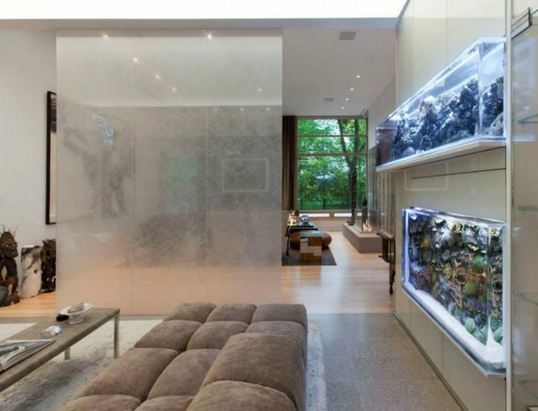 acuario decorativo pared salón