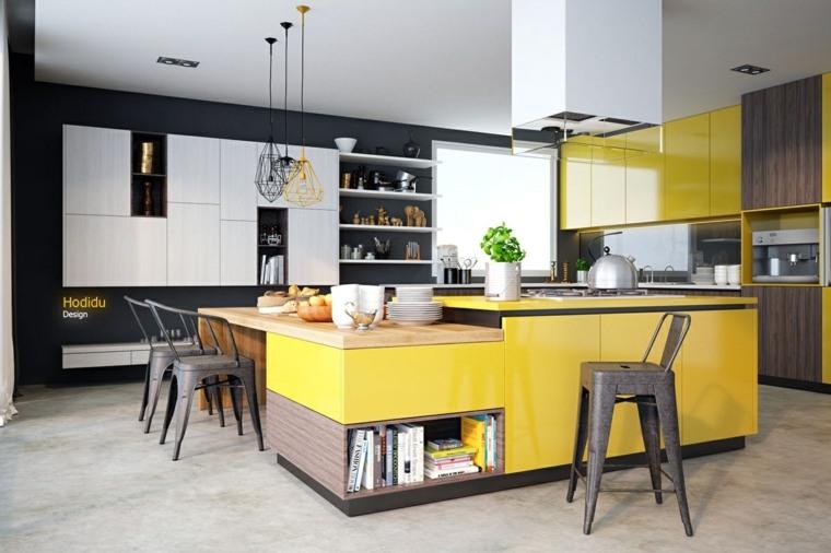 amarillo estilos funcionales espacios libros