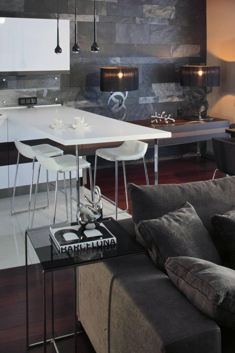 apartamento moderno pared losas negras lujo ideas