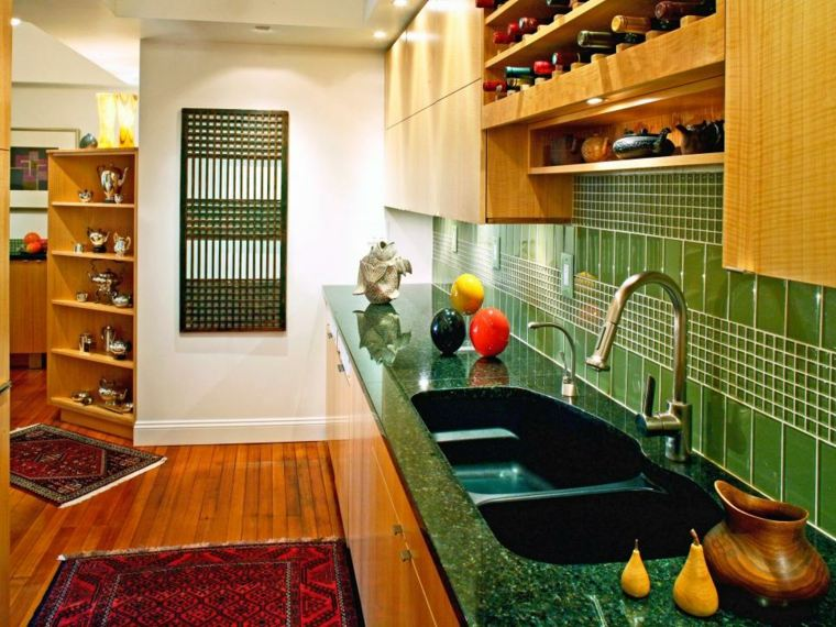 azulejos cocina encimeras verdes verdes