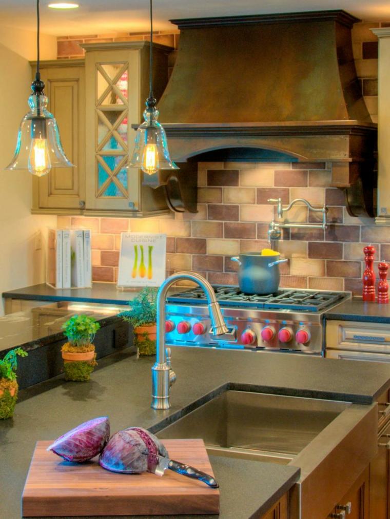 azulejos cocina rustica efectos campanas