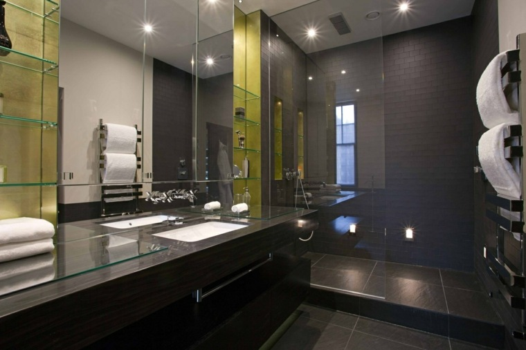 Ba os originales en negro y en gris for Townhouse bathroom ideas