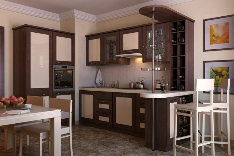 Cocinas con barra para nuestro hogar for Barra cocina madera