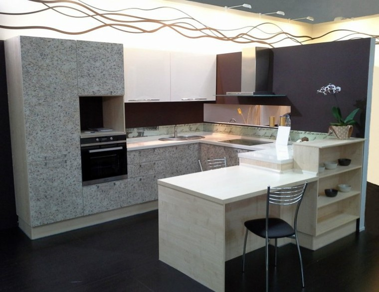 Cocinas con barra para nuestro hogar - Barra cocina pared ...