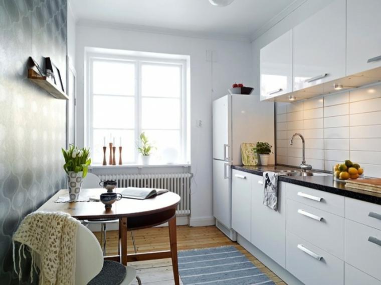 blanco cocina pequena salones rectangulares