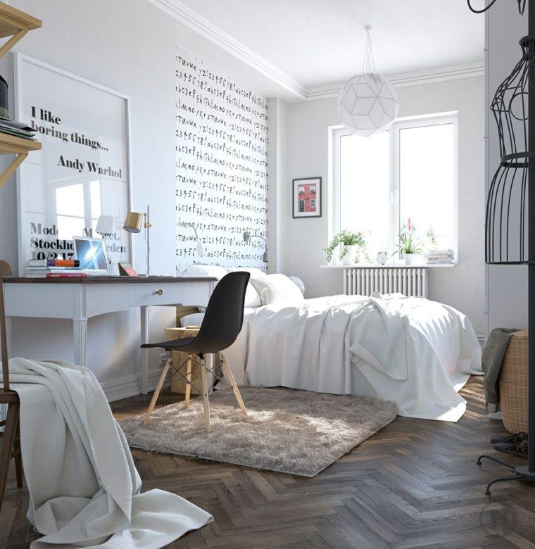 bonita decoración cuarto escandinavo