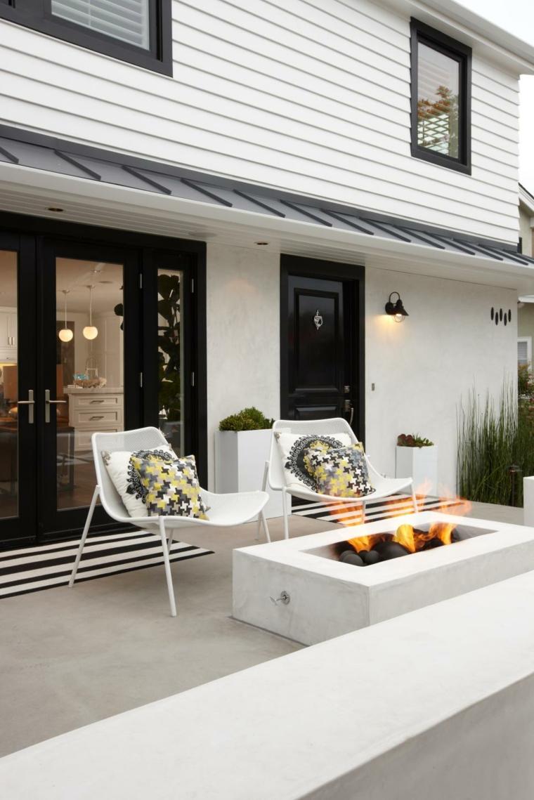 bonita terraza pozo fuego moderno