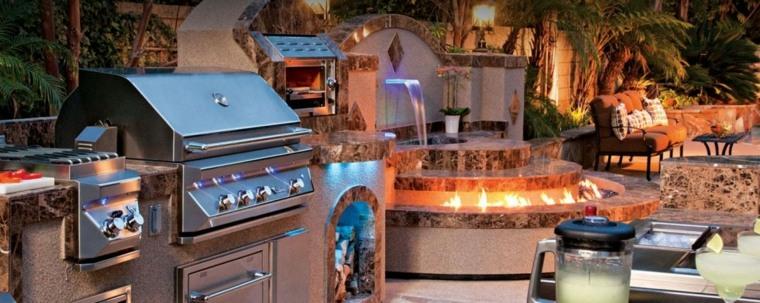 bonita terraza fuentes cocina