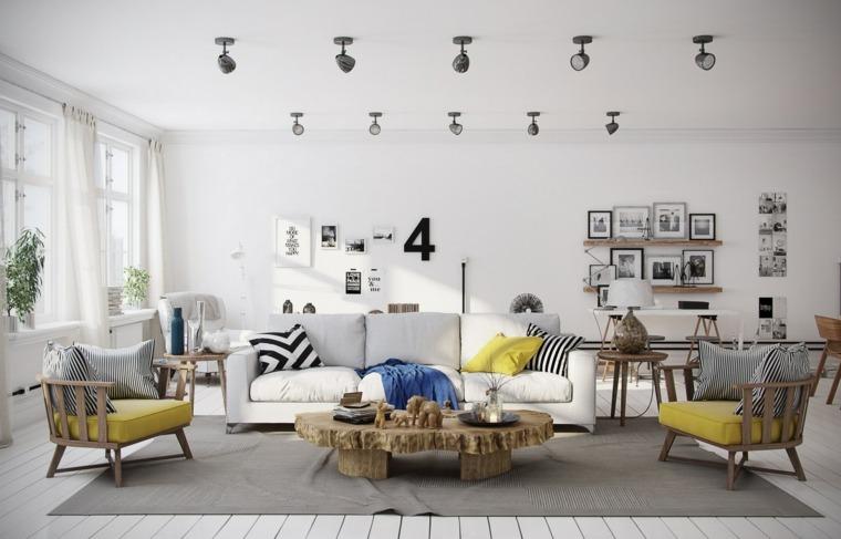 bonita decoración salón escandinavo