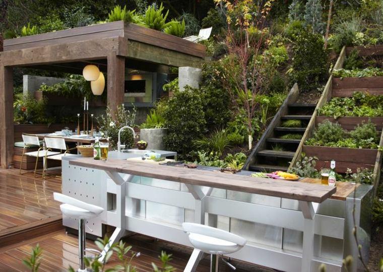 Barbacoas y muebles de cocina para el jard n 34 ideas - Terraza con barbacoa ...