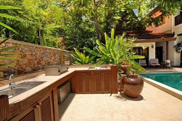bonito diseño jardin cocina piscina