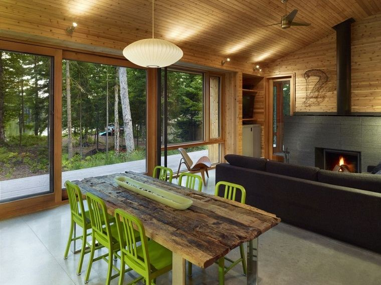 Mesas de madera un acento r stico para el comedor - Cocina comedor rustico ...