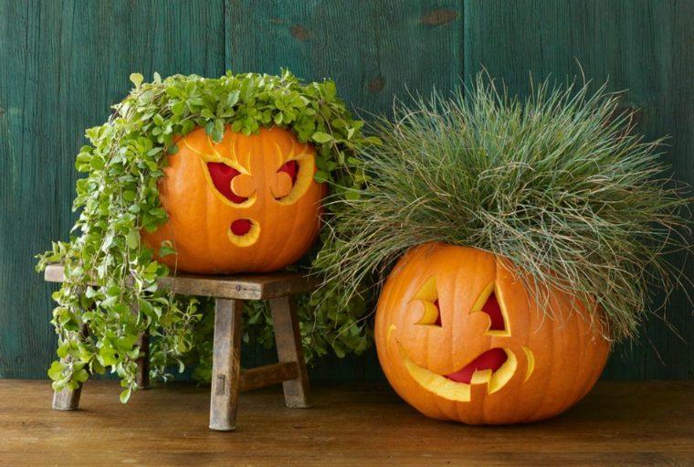 calabazas para halloween rostro masculino femenino