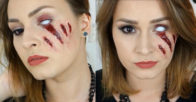cara arañazos maquillaje Halloween