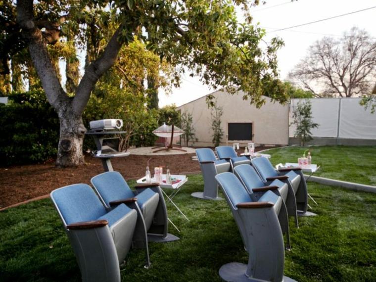 cine patio exteriores estilos fuentes
