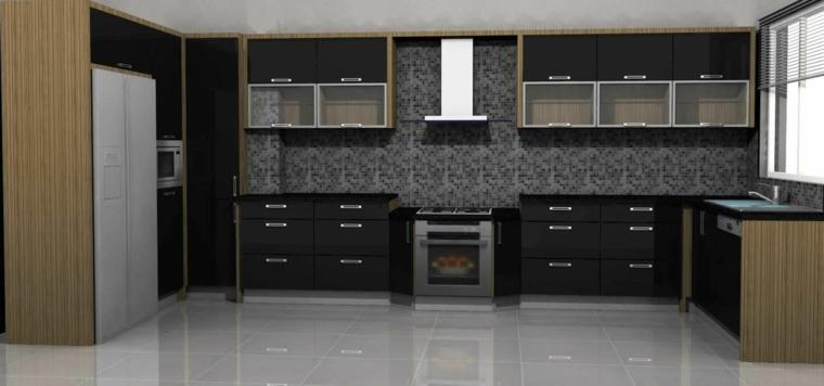 cocina amplia gabinetes negros partes madera ideas