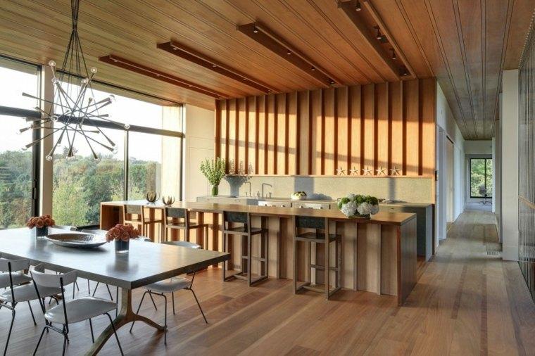 cocina comedor mismo espacio techo pared madera ideas