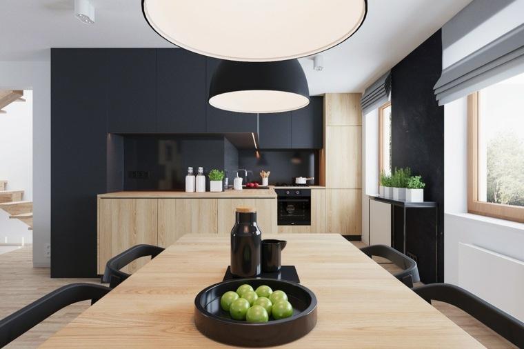 cocina comparte espacio comedor muebles negros ideas